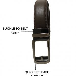Automatic Ratchet Sliding Men Genuine Leather Belt for Men with Alloy Buckle (Brown)