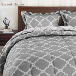 Basic Beyond Down Alternative Comforter Set (Twin, Grey) – Reversible Bed Comforter with 1 Pillow Sham for All Seasons
