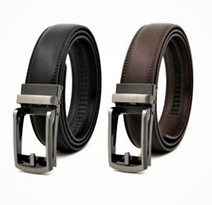 Automatic Ratchet Sliding Men Genuine Leather Belt for Men with Alloy Buckle (Twin Pack)